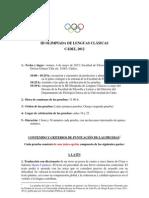 2 Circular III Olimpiada de Lenguas Clasicas Cadiz-2012