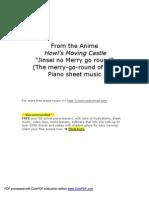 Il Castello Errante Di Howl, Tema-spartito Per Pianoforte