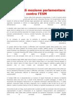 Proposta di mozione parlamentare contro l'ESM
