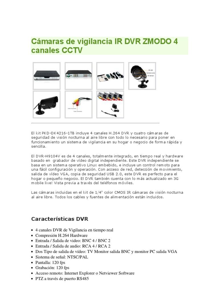 Cámaras de vigilancia IR DVR ZMODO 4 canales CCTV-