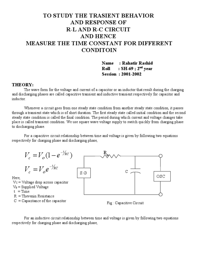 2 R L C Circuits Bipolar Junction Transistor Pn Capacitance Charging And Discharging Of A Capacitor