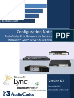 LTRT-34110 AudioCodes ELIN Gateway for MS Lync E9-1-1 Configuration Note