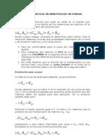 Resolución de ejercicios de determinación de órdenes matriciales