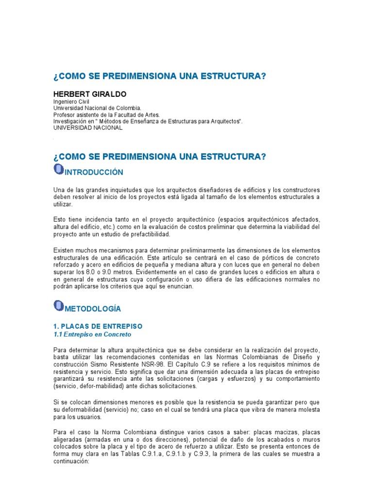 Predise o losas for Estructuras para arquitectos pdf
