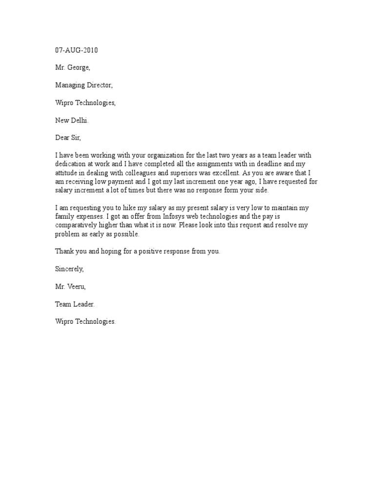 Download Sample Request Letter for Salary Increment in Word Format – Sample Salary Increment Letter