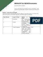 Revision Checklist for Igcse Economics