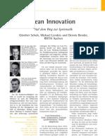 Lean Innovation Auf Dem Weg Zur Systematik Schuh 2009