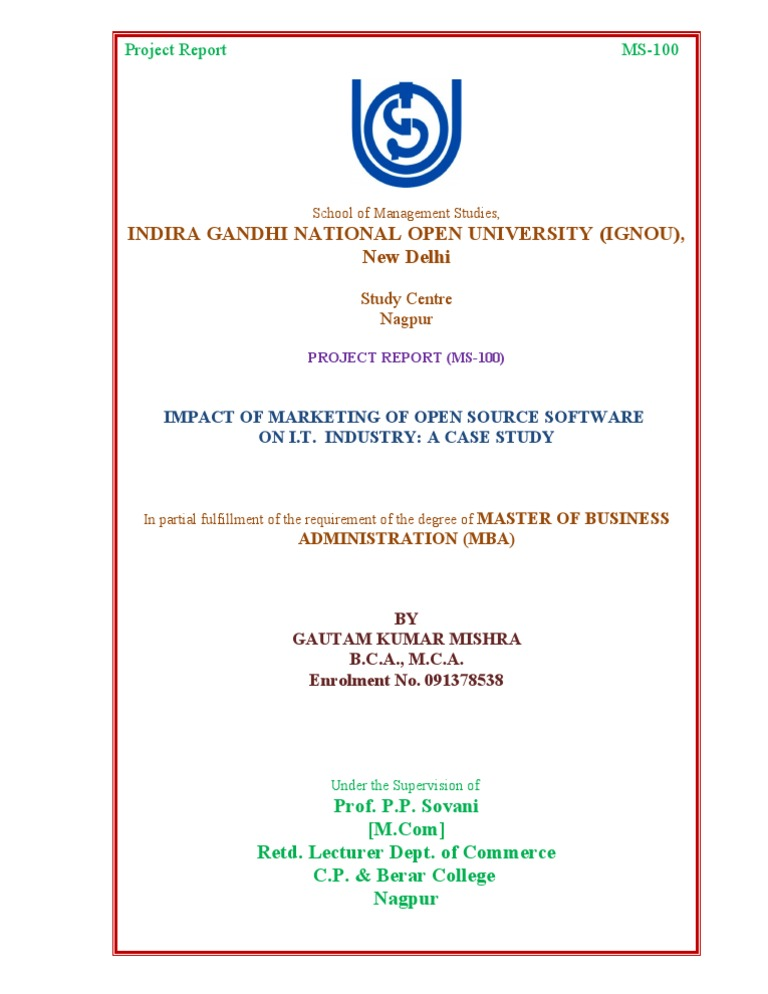 Cover page ignou project for Oum document templates