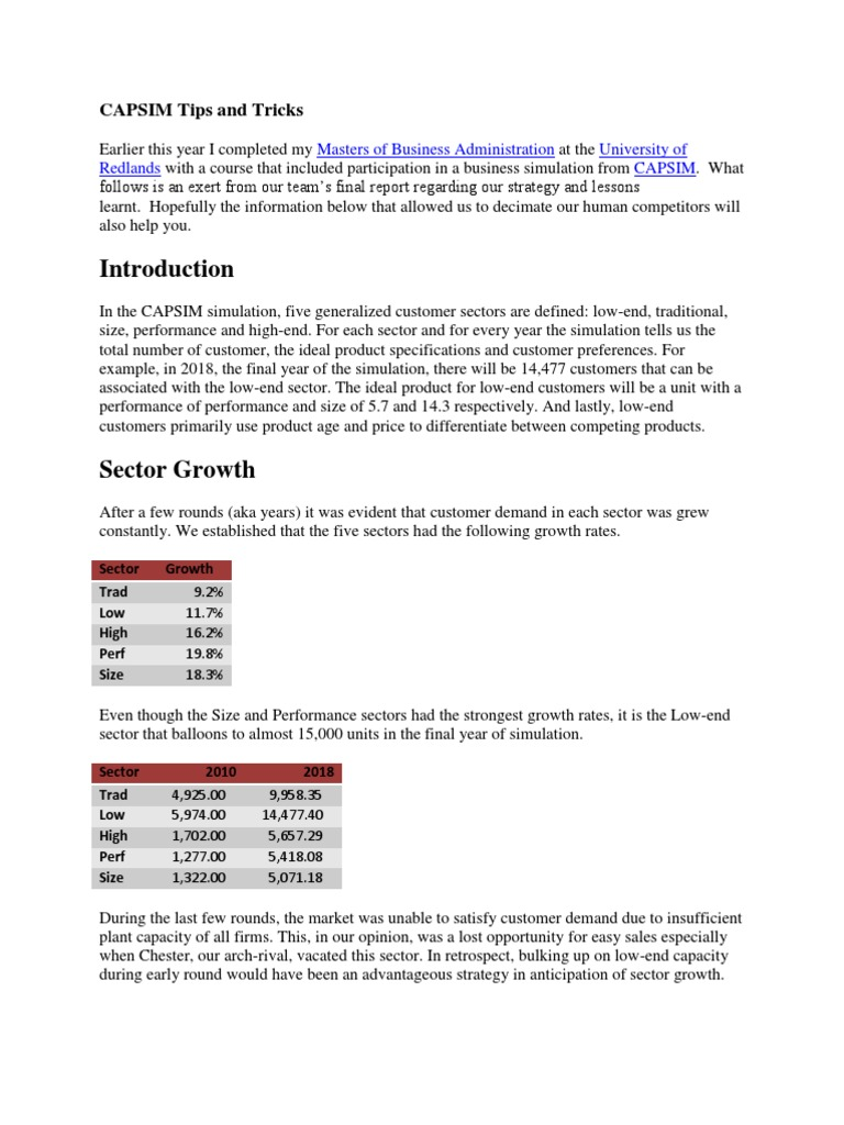 Capsim Tips   Leverage (Finance)   Investing