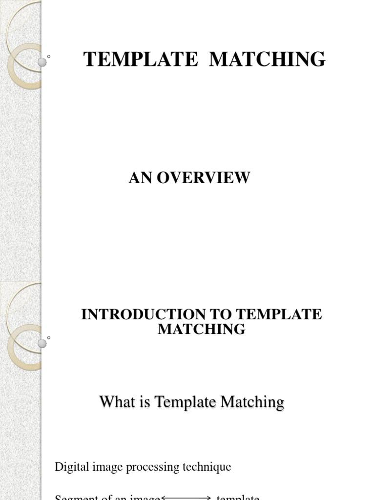 Template Matching Computer Vision Applied Mathematics
