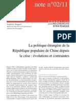 La politique étrangère de la République populaire de Chine depuis la crise