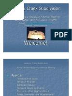 Hickory Creek Subdivision HOA 2012 Mtg Presentation