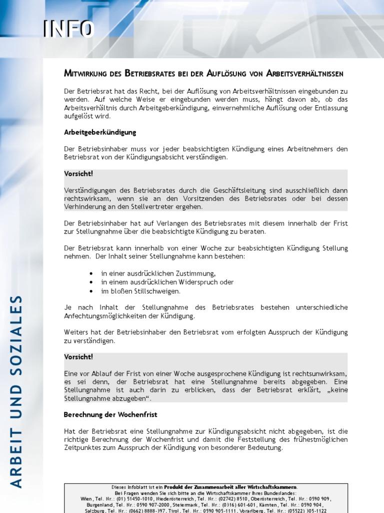Mitwirkungdesbetriebsratesbeiderauflösungvonarbeitsverhältnissen