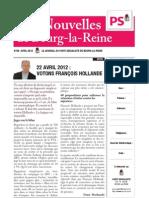 Nouvelles de Bourg-la-Reine avril 2012 - présidentielles 2012