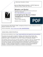Invesigating the Source of Idiom Transparency Intuitions