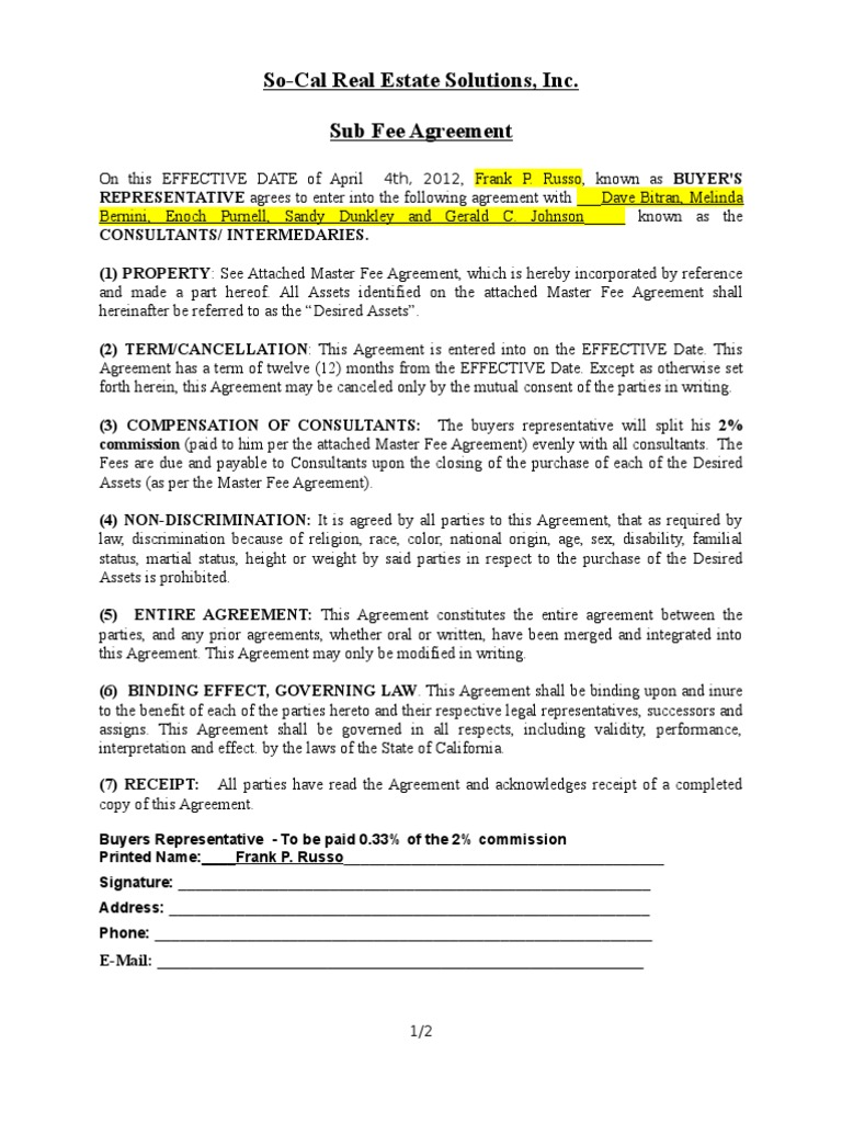 Sub Fee Agreement To Pdf Private Law Common Law