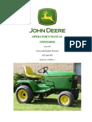 JD 425 445 Operators Manual | Tractor | Lawn Mower John Deere Pto Wiring Diagram on john deere l120 wiring diagram, john deere engine wiring diagram, john deere 170 pto wiring, muncie hydraulic electric shift wiring, john deere l111 wiring diagram, john deere mower wiring diagram, john deere 210 pto wiring, john deere 318 pto wiring, john deere radio wiring diagram, john deere alternator wiring diagram, john deere tractor wiring, john deere 50 wiring diagram, john deere 345 pto wiring, john deere 160 pto wiring, john deere 650 wiring diagram, john 10 10 switch wiring diagram, john deere 425 engine diagrams, john deere 316 pto wiring,