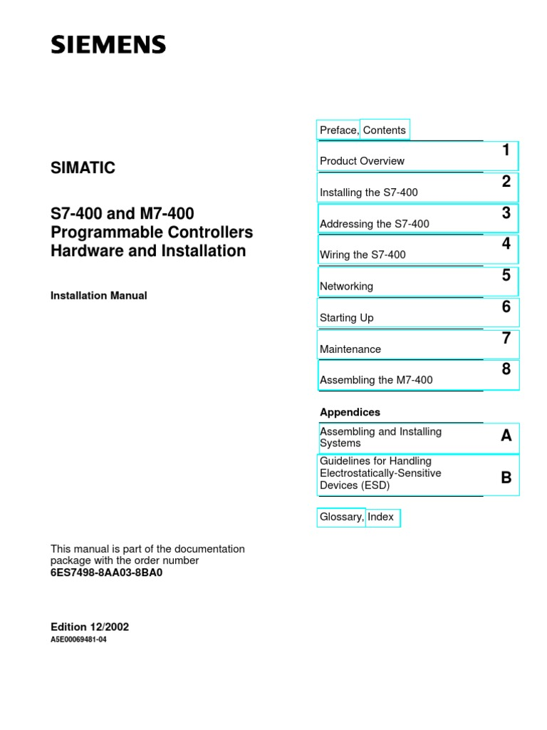 Siemens Plc Simatic - s7-400 and m7-400 Programmable Controllers Hardware  and Installation - Installation Manual (316 Pages) Www.otomasyonegitimi.com  ...