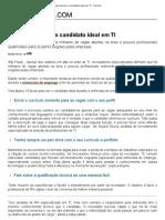 10 Dicas Para Ser o Candidato Ideal Em TI