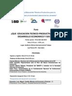 Foro Educacion Tecnico Productiva Desarrollo Economico Social ( Informacion)