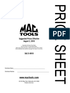 Mac Pricelist 0810 | Drill | Cutting Tools