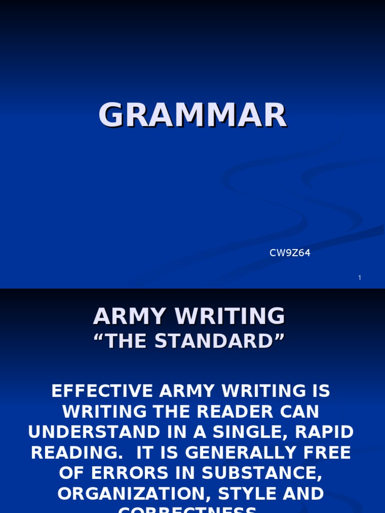 which of the following is an army writing standard