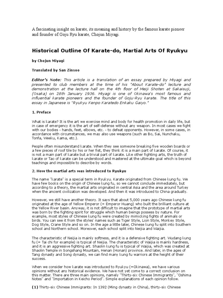 historical outline of karate do karate chinese martial arts