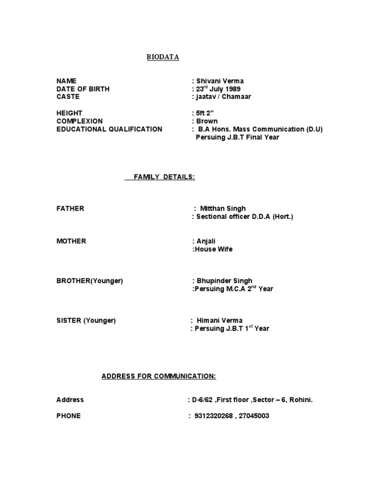 Biodata Format For Marriage