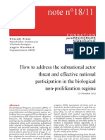 How to address the subnational actor threat and effective national participation in the biological non-proliferation regime