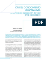 La GestiÓn Del Conocimiento Organizativo