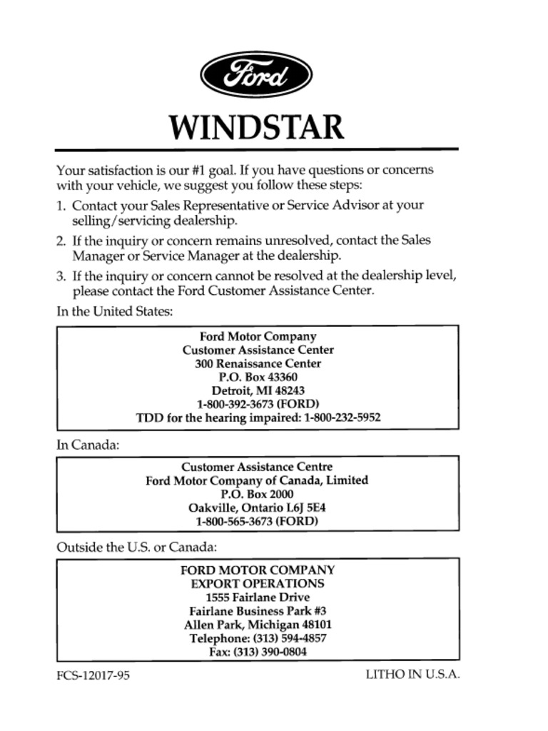 1996 Ford Windstar Owners Manual Airbag Seat Belt 50 Rv Plug Wiring Diagram Cheater 220v Horn Relay