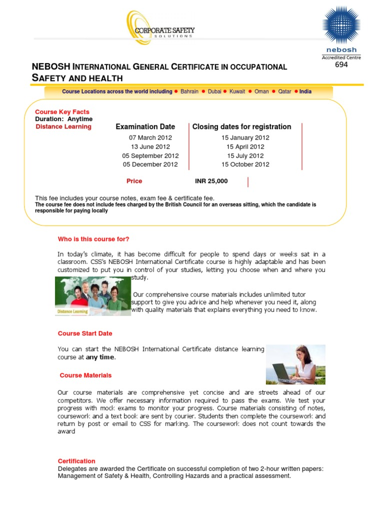 Nebosh Igc Distance Learning Css Test Assessment Payments