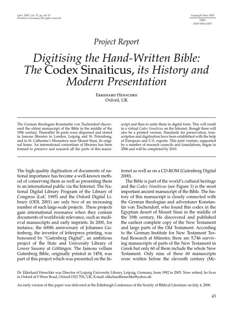 Codex Sinaiticus, | Manuscript | Textual Criticism