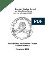 ARMY MOUNTAIN WARFARE SCHOOL MANUAL - BASIC MILITARY MOUNTAINEER COURSE STUDENT HANDOUT