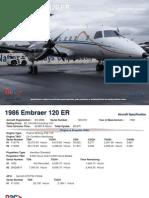 1986 Embraer 120ER (245_ZS-SRW) Specs