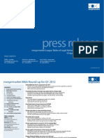 Mergermarket League Tables of Legal Advisers to Global M&A for Q1 2012
