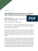 Cession de créance - Commentaire de Civ. 1e, 22 mars 2012, n° 11-15.151, par Jonathan Quiroga-Galdo
