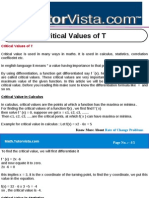 Critical Values of T