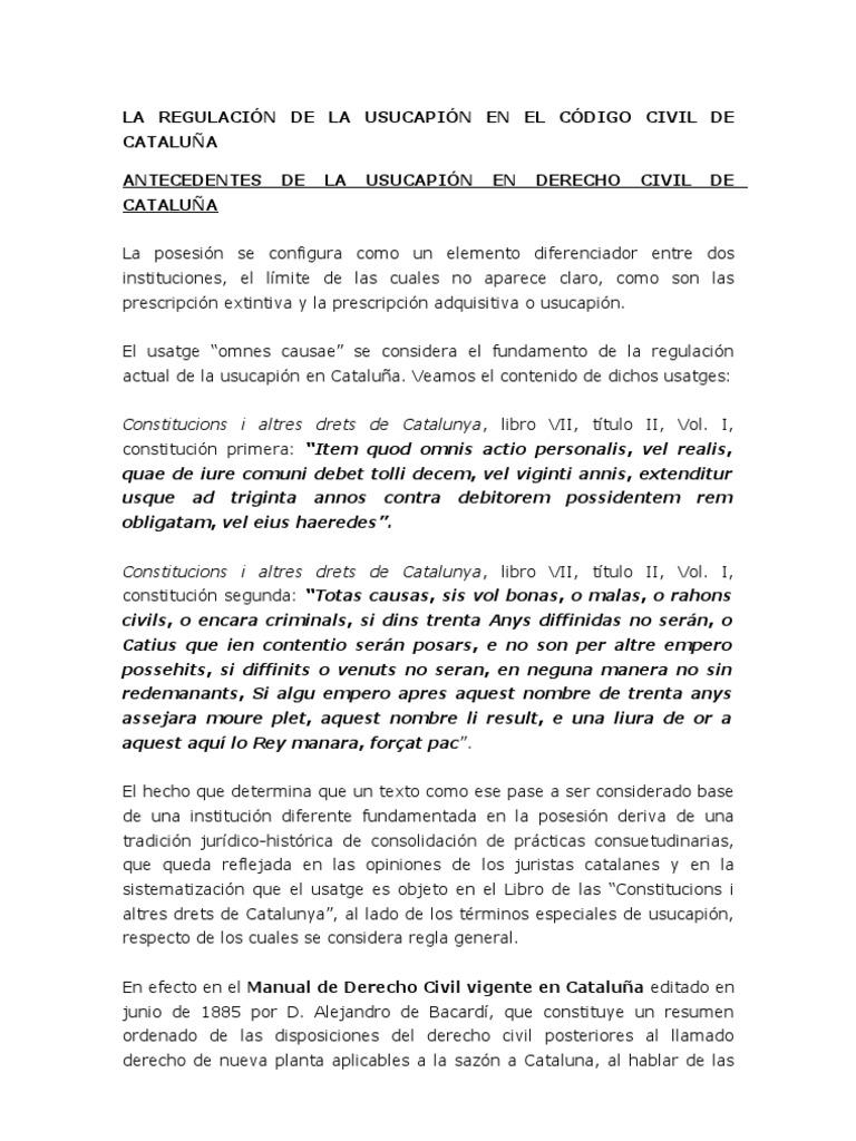 Resumen De La Regulaci U00d3n De La Usucapi U00d3n En El C U00d3digo