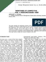 The Cornestones of Competitive Advantage a Resource-Based View