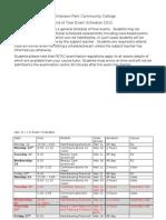 Exam Timetable 2012