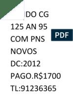 Vendo Cg 125 an 95 Com Pns Novos Dc