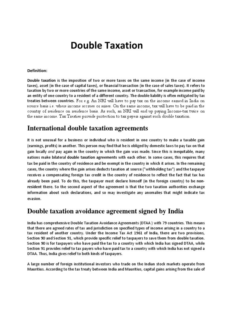 Double Taxation Assignment Double Taxation Tax Treaty