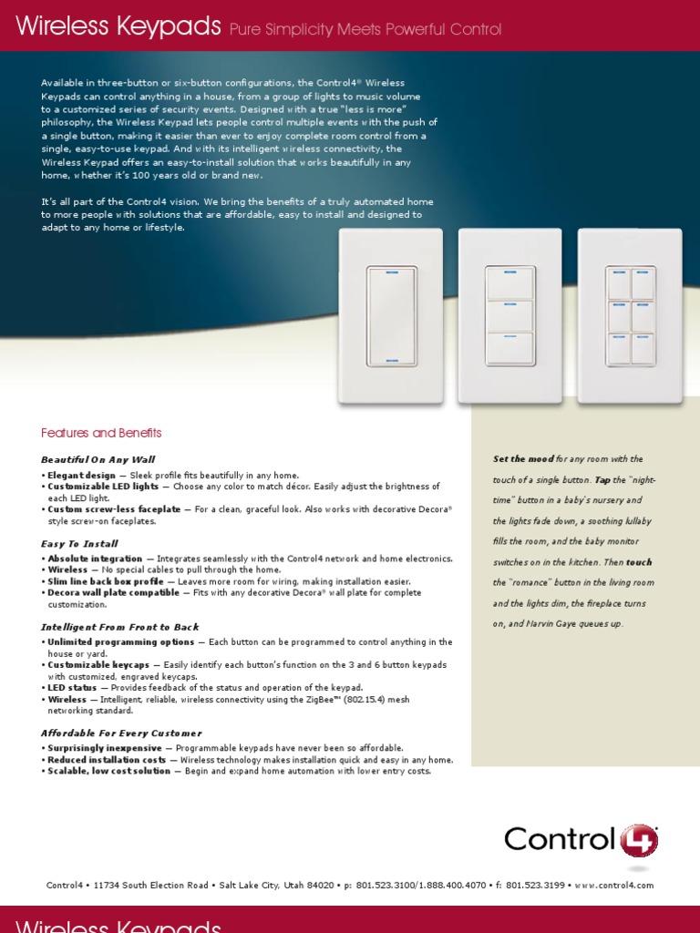 & Control4-WirelessKeypads   Wireless   Electronics
