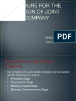 procedure for formation of joint stock company