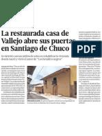 Casa de escritor César Vallejo abre sus puertas a la cultura, literatura y patrimonio