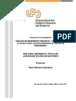 Analisis de rendimiento de futbol individual y colectivo Club pachuca mediante un nomograma