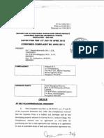 Order passed by Consumer Forum for case 1800 of 2011, Prakash vs SJR Enterprises