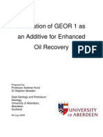 Evaluation of GEOR 1 as an Additive for Enhanced Oil Recovery
