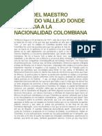 Carta Del Maestro Fernando Vallejo Donde Renuncia a La Nacionalidad Colombiana